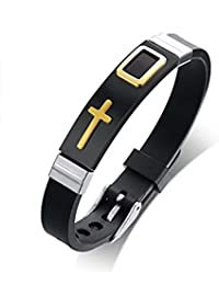 Impression New Fashion Stainless Steel Adjustable Casual Christ Crucifix Christian Cross Design Printed Bracelet...