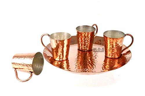 Kupfer gehämmert Fünf-teiliges Set mit Teller Mescalero tequilero ()