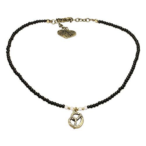 Alpenflüstern Filigran Perlen-Trachtenkette Strass-Brezel - Damen-Trachtenschmuck mit antik-Gold-farbener Breze und Strass-Salz, Dirndlkette schwarz DHK177