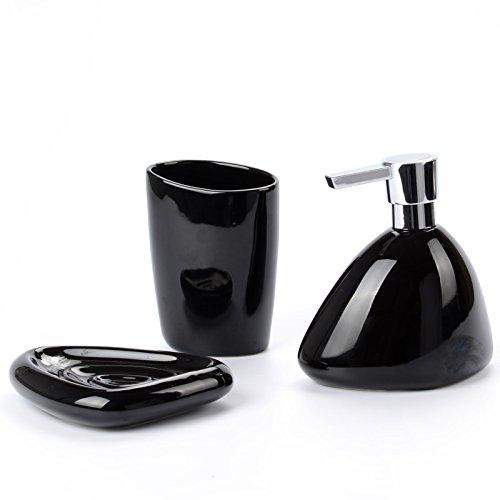 Creative smalto luminoso elegante, minimalista ceramica invetriata stone wash set di 3 pezzi,Nero