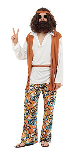 Hippie Man Fancy Dress Costume for Adults with waistcoat, trousers, belt and headband.