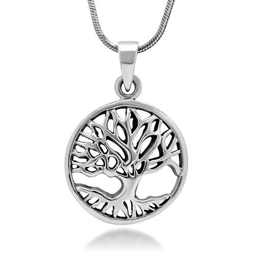 925Sterling Silber Baum des Lebens Symbol Anhänger rund offen, 45,7cm Halskette von chuvora