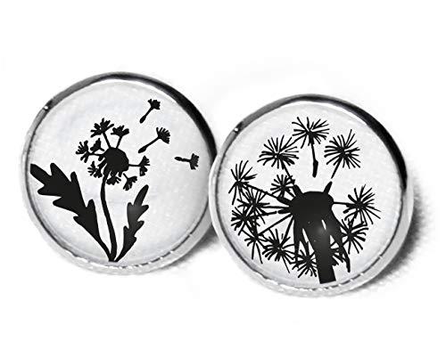 Ohrstecker Pusteblume - Blume Ohrringe - Süße Ohrringe - Ohrstecker schwarz weiß - Florale Ohrringe - 12mm - pusteblume ohrringe - Löwenzahn - SC283 (Süße Schwarze Ohrstecker)