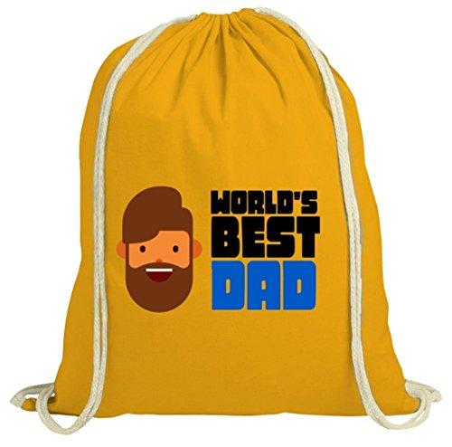 Geschenkidee natur Turnbeutel mit World's Best Dad Motiv von ShirtStreet gelb natur
