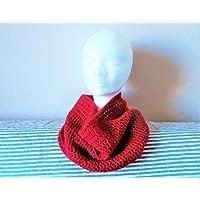 Tour de cou snood écharpe femme laine rouge sombre assorti à béret  ci-contre mode c67313fe47e