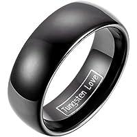JewelryWe carburo di tungsteno anello da uomo donna modello classico a forma di cupola 8 millimetri nero di placcatura lucida Anniversario fidanzamento matrimonio