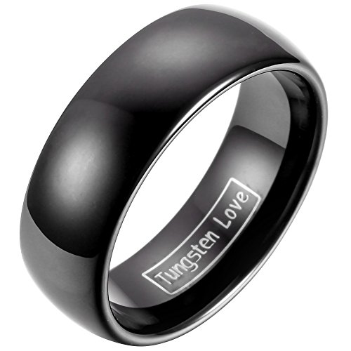 JewelryWe Schmuck 8mm Breite Glänzend Wolframcarbid Herren Damen Ring Jahrestag Verlobung Hochzeit Band Schwarz Klassik Dom Größe 77