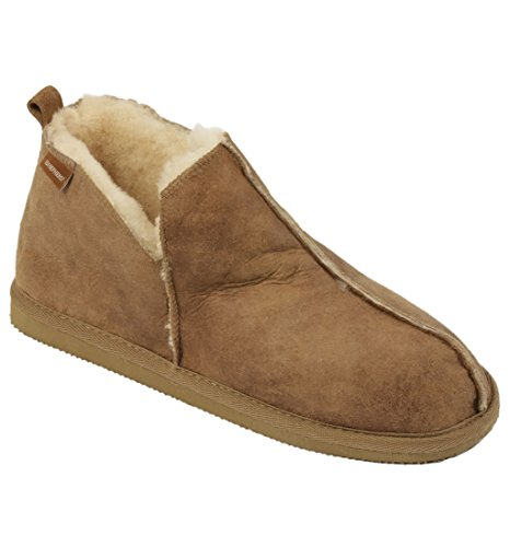 Damen stiefel-stil lammfell pantoffel mit Leder Obermaterial - Kastanie, 6 UK
