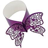 Nouveauté 50pcs Ronds de Serviette Papillon Découpé Anneaux Porte-serviette Décor Table pour Noël - Violet