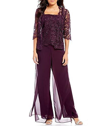 Hooleeger Damen Elegent Jumpsuit Lang Sexy Top mit Spitze High Waist Overall 3/4 Arm Groß Größe Playsuit