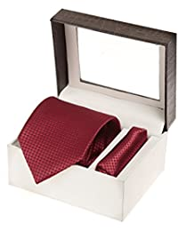 Sir Michele Designer Dark Red Micro Silk Tie and Pocketsquare Set