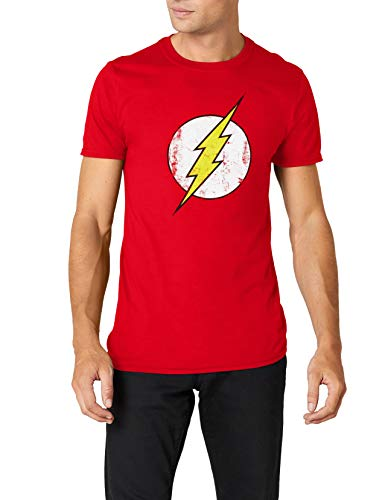 DC Comics - Camiseta de Flash con cuello redondo de manga corta para hombre, Rojo, XX-Large