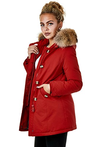 EightyFive EFW27 Damen Jacke Parka Mantel Winterjacke Echtfell Kapuze Warm Gefüttert Waschbar Schwarz Navy Khaki Rot, Größe:XS, Farbe:Rot - 2