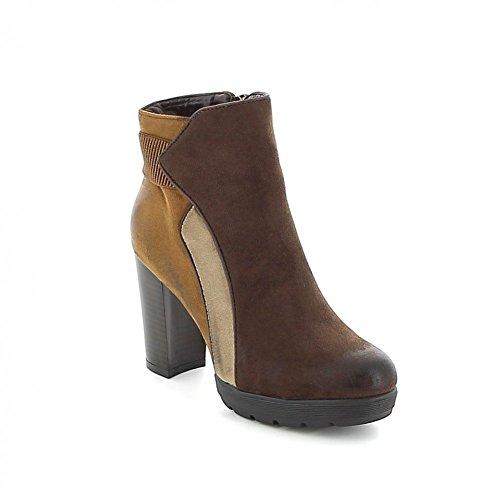 """Boots à talon effet """"patchwork"""" Marron-Camel"""