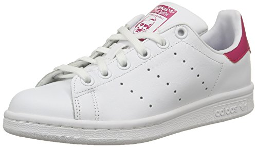 adidas Originals Stan Smith, Mädchen Sneakers, Weiß (Ftwr White/Ftwr White/Bold Pink), 38 2/3 EU (5.5 Kinder UK) (Smith Adidas Stan Schuhe)