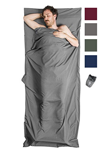 Bahidora Hüttenschlafsack aus Mikrofaser, Schlafsack Inlett, Schlafsack Inlay, Reiseschlafsack. Ideal für Hostels, Berghütten und Jugendherbergen (grau) -