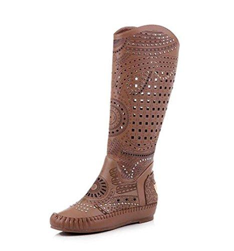 Damen Winter Lederstiefel hohlen gravierten nationalen Stil niedrigen Stiefel Stiefel , brown (in winter) , 37 (Brown Faux-pelz-stiefel)