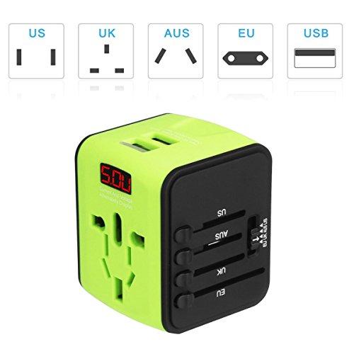 Adaptateurs de voyage, Voyage Adaptateurs pour l'international avec Double Chargeur USB US / EU / UK / AUS Universel Prise de Courant Tout en un Multi...