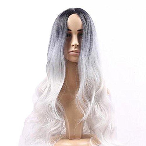 XUAN Longue onduleux Ombre Noir Enracinée Argent gris dégradé perruque vague Wigsmatte synthétique de haute température en soie femmes