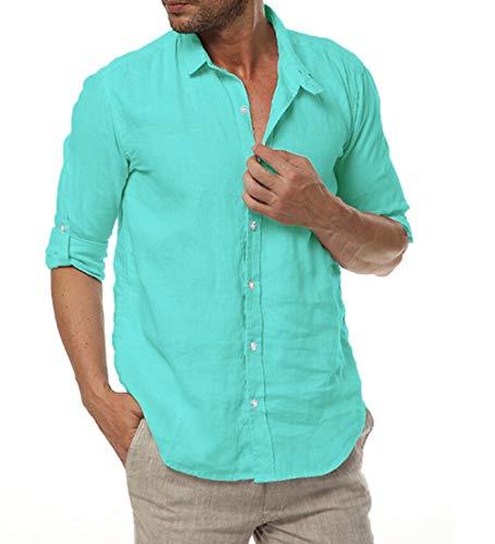 Beiläufig Lange Ärmel Buttons 100% Leinen Hemd (M / 48 DE, Grün) ()
