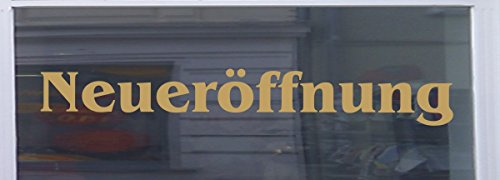 Neueröffnung Schaufensterbeschriftung Aufkleber Werbung Auto Laden Gold 1 Stück 60 cm -