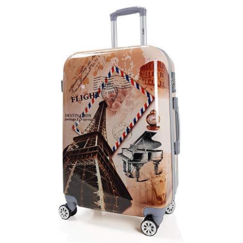 QTC Hartschalen Reisekoffer TSA Sicherheits Zahlenschloss mit 4 Doppelrollen Bilder (Paris, XL)