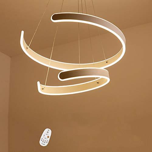 125W LED Pendelleuchten Dimmbar Fernbedienung Pendellampe 2-Ring Aluminium C-Typ Weiss Kronleuchter Esstisch Höhenverstellbar Hängeleuchte Esszimmer Wohnzimmer Schlafzimmer Decken Lampen 40+60cm -
