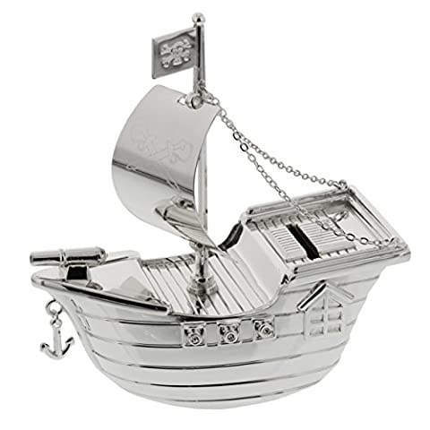 Bambino Silver Plated Money Box - Pirate Ship
