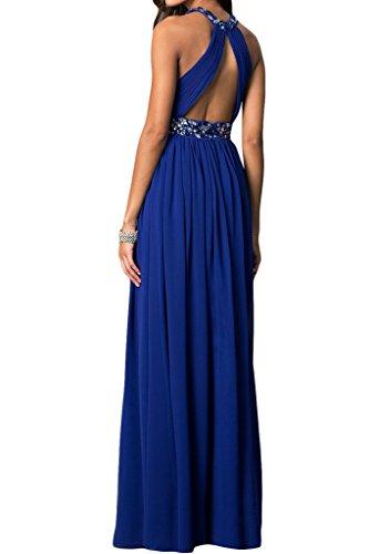 Ivydressing Damen Traumhaft Steine A-Linie Rueckenfrei Festkleid Partykleid Abendkleid Royalblau