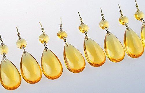 Katomi 10pcs 50 millimetri di cristallo Teardrop con ottagono perline Papillon connettore Lampadario prismi Parts (Golden)