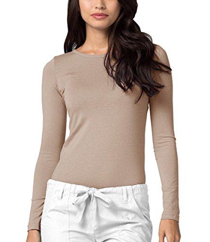 Adar Womens Comfort Long Sleeve T-Shirt Underscrub Tee - 2900 - Khaki - XL