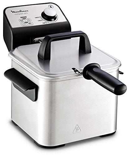 Moulinex Compact Pro AM322070 - Klassische Friteuse, 2 Kochstufen, einstellbarer Thermostat, 2 l / 600 g, 1700 W, Kunststoff, Edelstahl, inklusive leicht zu reinigendem Bratrost