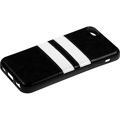 PhoneNatic Case für Apple iPhone 6s / 6 Hülle Silikon türkis Stripes Cover iPhone 6s / 6 Tasche + 2 Schutzfolien Schwarz