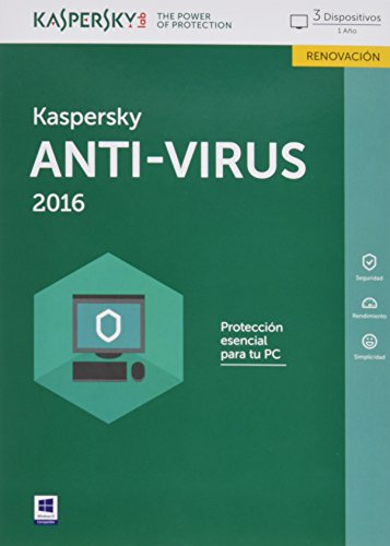 Kaspersky AntiVirus 2016 - Software De Seguridad, 3 Usuarios, Renovación