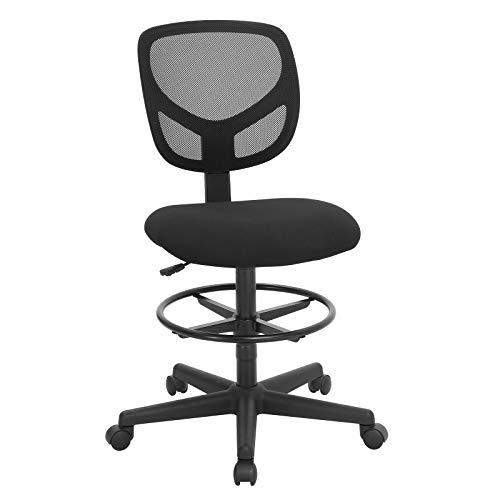 SONGMICS ergonomischer Arbeitshocker, Bürodrehstuhl, höhenverstellbar Arbeitsstuhl, Stehhilfe hoch mit verstellbare Fußring, Belastbarkeit 120 kg, Schwarz OBN15BK