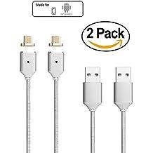 Netdot Segunda Generación trenzado magnética cable de carga USB con conector 1 Micro-USB para Samsung Galaxy S2 S3 S4 S6 , Note 2/3/4/5, LG G4 G3, Sony Xperia Z5 Premium / etc Compacto (2 Pack Plata)