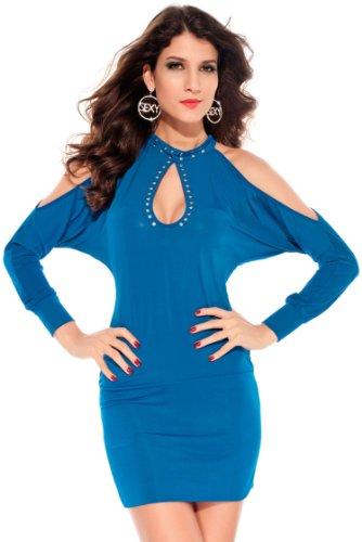 Pinkyee Damen Strandkleid Blau - 138754-Blue