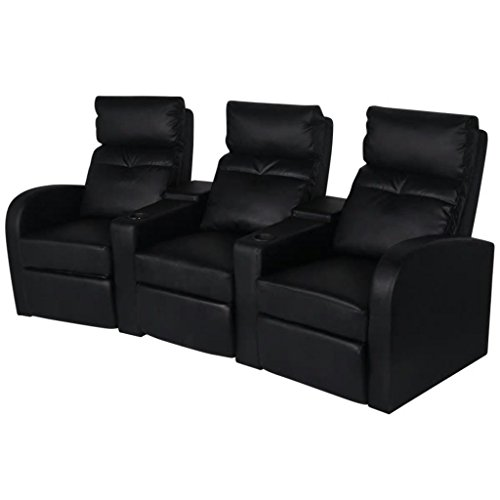 mewmewcat Kunstleder Heimkino Sessel 3-Sitzer Sofa Relaxsessel Fernsehsessel Liegesessel Sitzkomfort 227 x 85 x 103 cm Schwarz