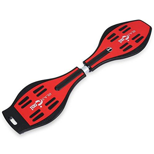 Blascool Waveboard Skateboard Caster Board Streetboard bis 90Kg mit Leuchtrollen rutschfester Deck ABEC-7 Kugellager Tasche 3 Farben zur auswahl