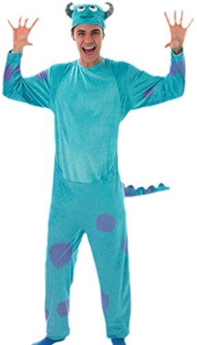 erdbeerloft - Herren Blaues Monster Jumpsuit Ganzkörper Kostüm, XL, (Kostüme Monsters Disney Inc)