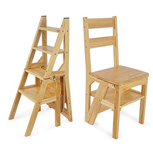 XAJGW Holzklappbare Outdoor-Esszimmerstühle (mit doppeltem Verwendungszweck) kreativer Leiterstuhl Perfekt für den Innenhof | mit natürlichem Finish (Farbe : Style A)