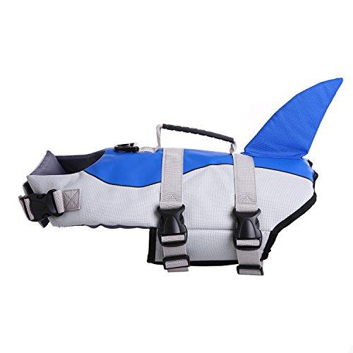QBLEEV Schwimmweste für Hunde, Hai, Schwimmweste für kleine mittelgroße und große Hunde, Badeanzug mit verstellbarem Sicherheitsgurt am Strand, Boot, S(Chest = 12.6-21.3 inches), blau
