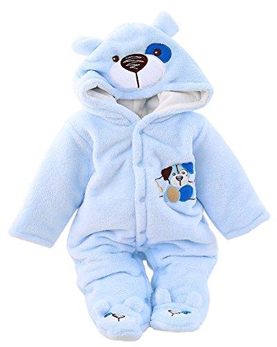 Minetom BéBé Fille Garçon Hiver Combinaison Unisexe Pyjama à Capuche Mignon Velours Rompers Chaud Épais Salopette One-piece Chien Bleu 4-5 mois (62)