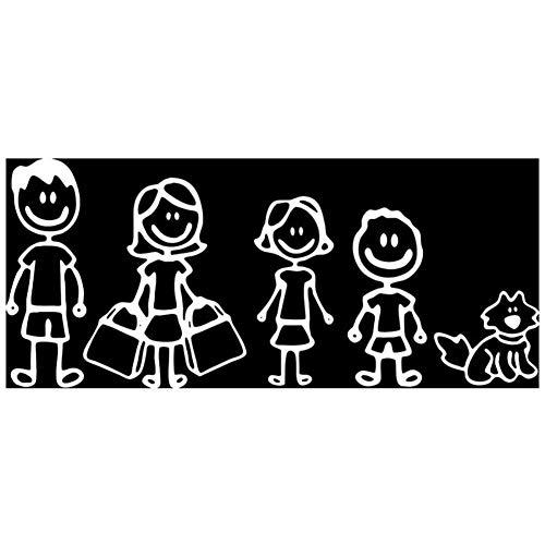 EROSPA® KFZ Auto-Aufkleber - Familie Mutter Tochter Vater Sohn Hund - Car-Sticker (Silber)