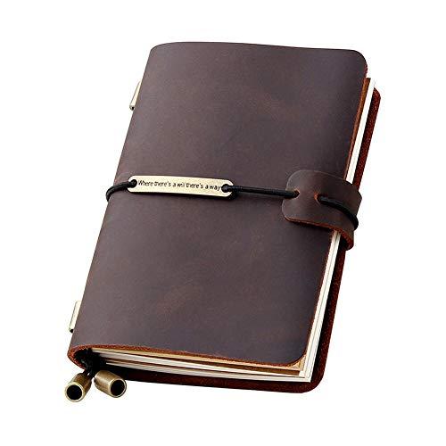 XRROOK Nachfüllbare Handgefertigte Traveler Notebook, Leder Travel Journal Notebook Für Männer & Frauen, Ideal Für Das Schreiben, Geschenke, Reisende, Kleine Größe 10.5 * 13.5 Cm - Kaffee Farbe (Journal Kleines Notebook)