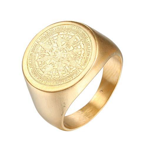 Bogist Vintage Männer's Ringe Compass Titan Stehlen Ringe,Gold,Größe 57 (18.1)