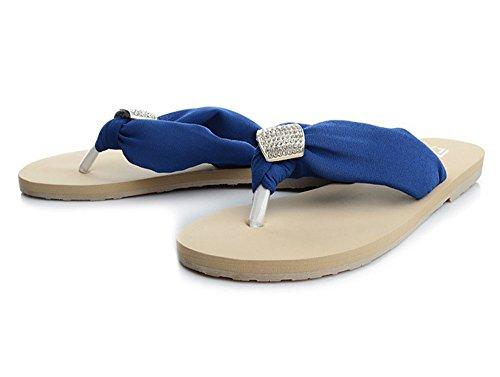 Dayiss®Elegant Damen Strass Chiffon Sandalen Sandaletten Flip Flops flache Zehntrenner Pantoletten Badeschuhe Hausschuhe Strandschuhe Dunkelblau
