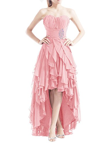 Find Dress Femme Sexy Robe de Soirée/Cocktail/Cérémonie Bustier Robe Asymétrique à la mode en Mousseline de Soie avec Appliques Rose
