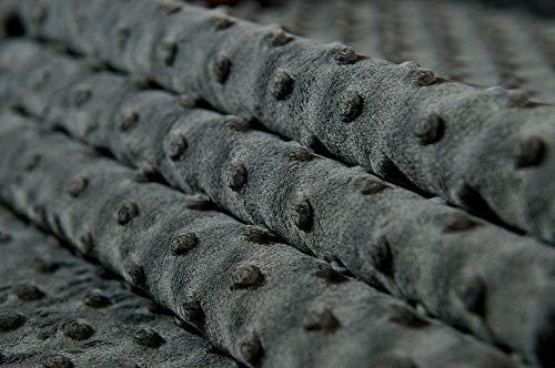 MINKY DOT - flauschiger Plüschstoff mit Noppen, Fleece, Meterware - Grau - Grau Minky Stoff
