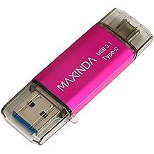 MAXINDA 16GB/32GB/64GB Pendrive / Memoria USB 3.1 OTG Type C (Tipo C) con Carcasa Aluminio y Elegante para Android Smartphone con la Interfaz Type-C y Computadoras (16G, Rosa)